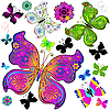 Set colorful and black butterflies