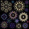 Vector clipart: Set of colorful snowflakes