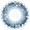 Vector clipart: Christmas round frame of snowflakes