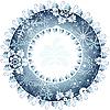 круглая новогодняя рамка из снежинок