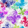 Vector clipart: Seamless floral pattern with butterflies