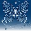 темно-синяя новогодняя открытка с бабочкой