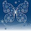 Vector clipart: Christmas dark blue butterfly