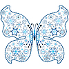 Vector clipart: Christmas butterfly of snowflakes