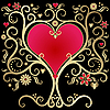 Vektor Cliparts: Gold valentines Rahmen