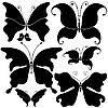 Vector clipart: Set of black butterflies