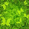 Векторный клипарт: Зеленый цветочный узор