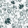 Бесшовные белый темно-зеленый цветочный узор | Векторный клипарт