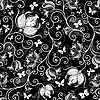 Seamless black-white floral pattern | Stock Vector Graphics