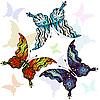 Векторный клипарт: набор красочных бабочек
