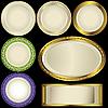 Векторный клипарт: Белые пластины с орнаментом