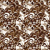 Seamless brown-white floral pattern