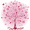 Vector clipart: Pink decorative spring tree