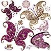 Set of vintage butterflies | Stock Vector Graphics