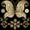 Vector clipart: Gold vintage butterfly