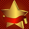 Vector clipart: Gold star with red ribbon