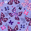 Vector clipart: Seamless blue pattern with butterflies