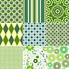 Vector clipart: Set green seamless patterns