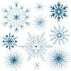 Vector clipart: Set blue snowflakes