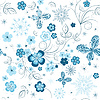 Vector clipart: Repeating winter floral pattern