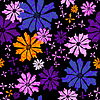 Vector clipart: Floral seamless black pattern