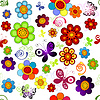 Vector clipart: Rainbow floral seamless pattern