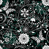 Vector clipart: White and dark seamless floral pattern