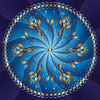 Vector clipart: Blue and gold round frame