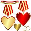 Gold und rote Herzen