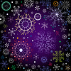 Векторный клипарт: Черно-фиолетовый новогодний узор