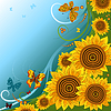 Vector clipart: Spring background with sunflowers