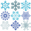 New collection blue snowflakes | Stock Vector Graphics