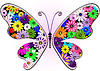 Vector clipart: Vivid fantasy floral butterfly