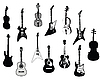 Vector clipart: Guitars silhouettes