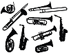 Vector clipart: silhouettes of wind instruments