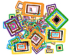 Vector clipart: Rectangle stroke elements background in different coloros