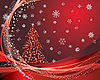 red christmas card with fir tree