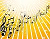Векторный клипарт: желтый фон с нотами и звездами