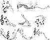 Vector clipart: set of designs with music notes
