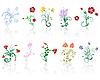 Vector clipart: flowers set