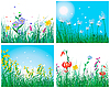 Vector clipart: color set of grass backgrounds