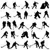 Hockey silhouettes set | Stock Vector Graphics