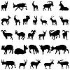 Vector clipart: deer and goats silhouettes set
