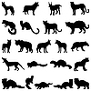 Vector clipart: wolves and martens silhouettes set