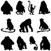 Vector clipart: apes silhouettes set