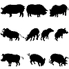 Vector clipart: pigs and boars silhouettes set