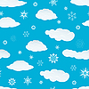 Vector clipart: seamless snowflakes and clouds