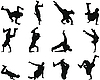 Vector clipart: break-dance silhouette set
