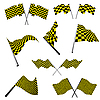 Vector clipart: checkered racing flags set