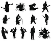 Vector clipart: set of rock and jazz silhouettes